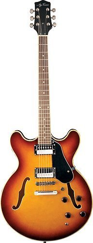 Jay Turser Jazz Guitars Jt-133-tsb Semi Hollow-body Electric Guitar, Tobacco Sunburst