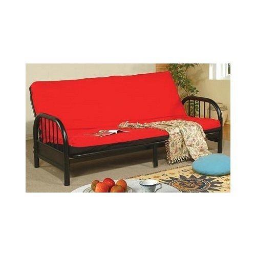 Black Faux Leather Sofa Bed Futon by Coaster Furniture - Sofas