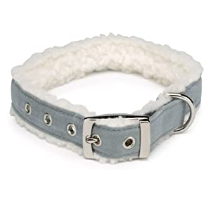 East Side Collection Faux Suede Cozy Sherpa Dog Collar, 11 to 14-Inch, Gray