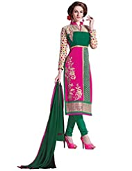 Manvaa Multi Color Cambric Cotton Embroidered Dress With Net Sleeves