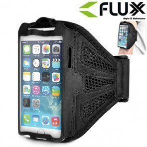 Fluxx FL201 Sports Running / Gym / Jogging Exercise Mesh Armband Case Pouch for Samsung / Black/ Apple Iphone 6 /6s Black