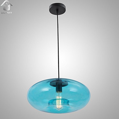 UNITARY BRAND Blue Vintage Murano Glass Shade Hanging Ceiling Pendant Light Max.60W With 1 Light Painted Finish