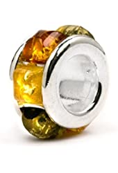 Multicolor Amber Sterling Silver Small Round Bead