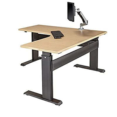 "RightAngle 27"" - 47"" H Electric Height Adjustable L-Shaped Sit / Stand Desk"