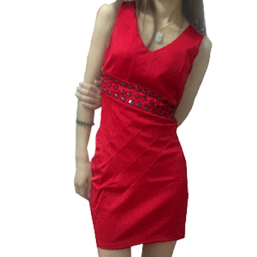 Allegra K Women V Neck Concealed Zipper Sexy Sleeveless Cocktail Dress Red S