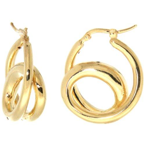 Sterling Silver Italian Puffy Hoop Earrings Double Loop Design w/ yellow Gold Finish, 1 1/16 inch wi..