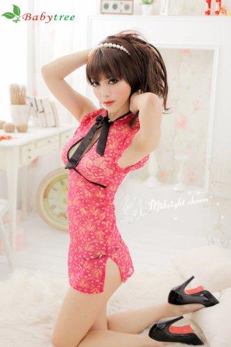 Sexy Women Lingerie Sleepwear Transparent Chinese Cheongsam floral Dress Deep V + G-string Set #1038