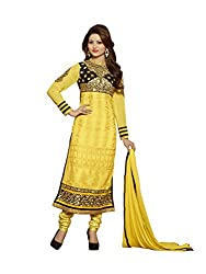 Touch Trends Yellow Embroidered Dress Material