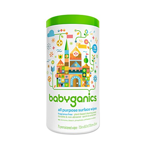 Babyganics All-Purpose Surface Wipes, Unscented, 75-Count Tubs (Pack Of 2), Packaging May Vary