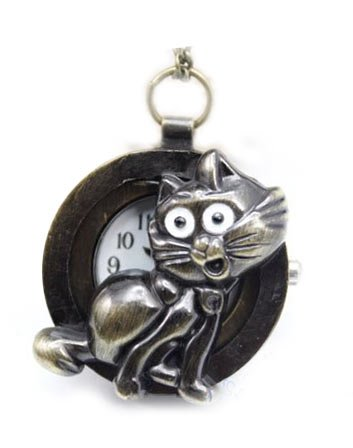 Bad Kitty Cat Pendant Watch Antique Brass Finish with Long Chain Included