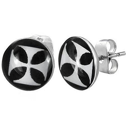 "Stainless Steel Iron Cross Men'S Stud Earrings - 7 Mm Diameter (.27"")"