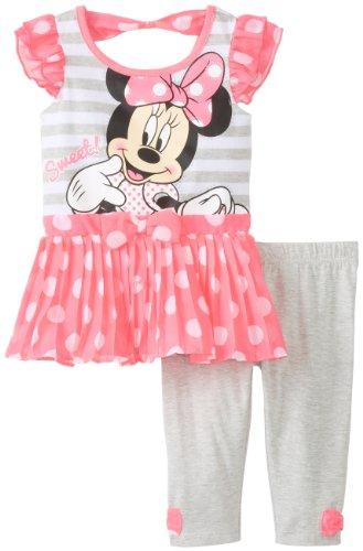 Disney Baby-Girls Minnie Infant Girl Legging Set, Pink, 12 Months front-101686