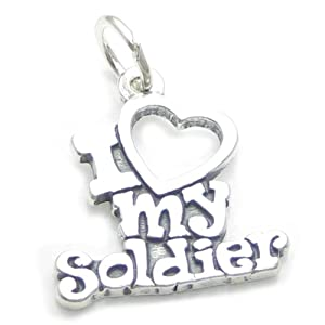 I Love My Soldier sterling silver charm .925 x 1 Armed Forces charms CF5450