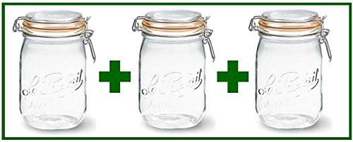 Set of 3 - Le Parfait French Super Canning Jars With Bail Lid - 34 oz / 1 liter