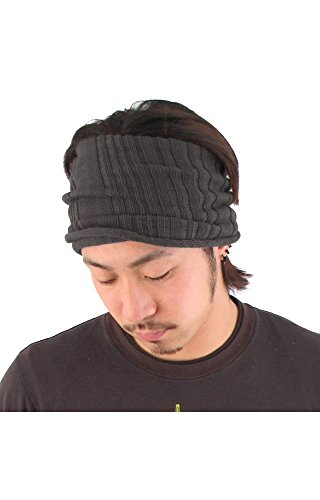 Casualbox mens headband Neck Warmer Japanese Hair Accessory Sports Charcoal Gray