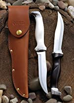 "Model 1769 CUTCO Hunting Knives with leather sheaths. 5-3/8"" High Carbon Stainless Double-D® serrated blade and classic dark brown or white (pearl) Highly Engineered Thermo-Resin handles"