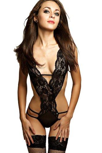 sexy Body Dessous Reizwäsche Stringbody Teddy Gogo Catsuit schwarz