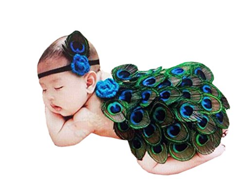 DAYAN Cute Baby Photography Prop Peacock Crochet Knitted Costume Headband Cloak