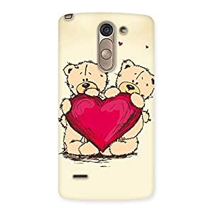 Cute Heart Twin Teddy Back Case Cover for LG G3 Stylus