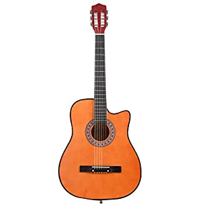Beginners Acoustic Guitar With Guitar Case, Strap, Tuner and Pick Brown from Thailand
