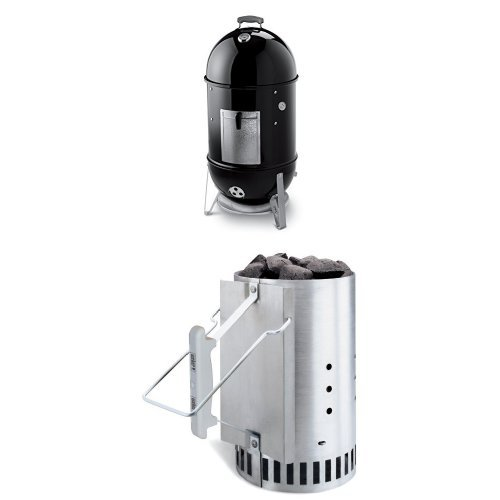 Weber 721001 Smokey Mountain Cooker 18-Inch Charcoal Smoker, Black and Chimney Starter Bundle (Porcelain Smoker compare prices)