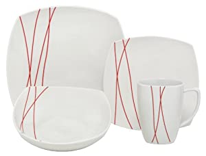 Melange Red Lines Square Porcelain 32-Piece Place Setting, Service for 8