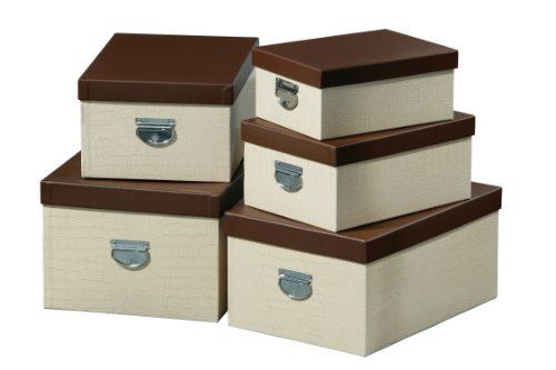 Premier Housewares 25 x 50 x 35 cm Mock Croc Storage Boxes, Set of 5, Cream
