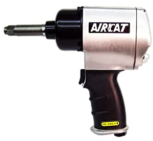 AIRCAT 1404-2 Original 1/2-Inch Black Brushed Aluminum Air Impact Wrench With Twin Hammer Mechanism And Extended 2-Inch Anvil