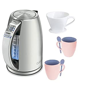 Cuisinart Coffee Maker Travel Mug : Amazon.com: Cuisinart CPK-17 PerfecTemp Cordless Electric Kettle + Glass Coffee Mug + Porcelain ...