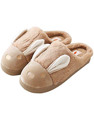 Minetom Donne Pantofole Calde Autunno Inverno Morbido Scarpe Antiscivolo Casa Cartone Animato Slippers Caffè EU 39