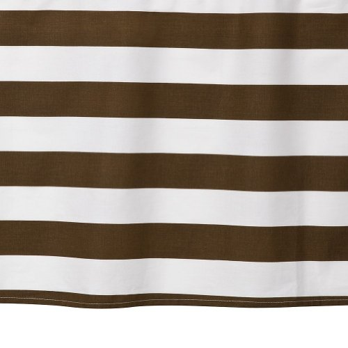 Bacati Stripes Printed Crib Skirt - White/Chocolate