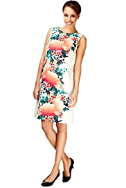Cotton Rich Placement Floral A-Line Dress
