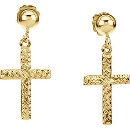 Cross Earrings - 14K Yellow Gold - 11 X 8 X 1