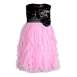 Grey Sequence With Pink Waterfall Party Dress (6-7 Years)