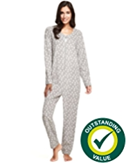 Zip Through Star Print Fleece Onesie