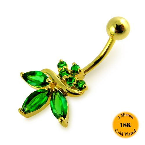 3 Micron 18K Gold Plated Emerald Gem Fancy Orchid Flower 925 Sterling Silver Belly Ring with 316L Surgical Steel 14Gx3/8(1.6x10MM) Banana and 5MM Ball