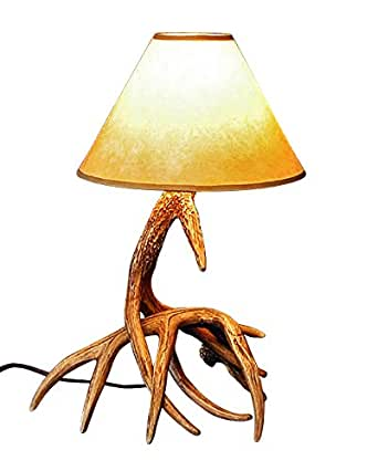 whitetail two antler table lamp. Black Bedroom Furniture Sets. Home Design Ideas