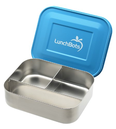 LunchBots Trio Stainless Steel Food Container, Blue