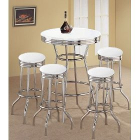 MAN CAVE 4 White Glitter Barstools and White Table Set CUSTOM MADE