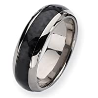Titanium Carbon Fiber 8mm Polished Comfort Fit Wedding Band (Size 13)