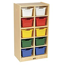 ECR4Kids Birch 10 Cubbie Tray Cabinet with Scoop Front Bins, Assorted Colors
