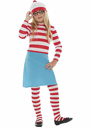 [Kids Wheres Wally Wenda Costume Large (10-12 years)] (Wheres Wally Fancy Dress Kids)