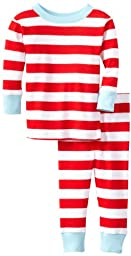 New Jammies Unisex Baby Organic Pajama Candy Cane Stripes, Red/White, 12 Months