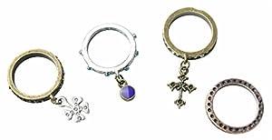 niceeshop(TM) Vintage Antiqued Bling Clover Cross Ring Set for Girls,Multi Color