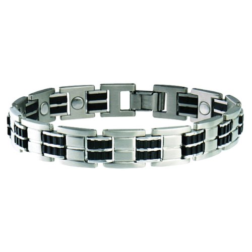 Sabona Executive Stainless/Rubber Magnetic Bracelet (Silver/Black, Medium /7.0)