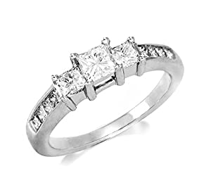 1 ctw. Princess cut Three Stone Diamond Engagement Ring in 14k White Gold from Natural Diamond