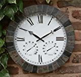 Large Slate Effect Outdoor Garden Clock - 45cm (17.7