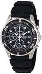 Pulsar Men's PF3293 Stainless Steel Watch with Black Rubber Band