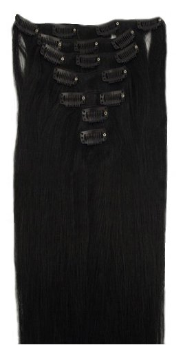 15 Clip in Remy Human Hair Extensions 1b