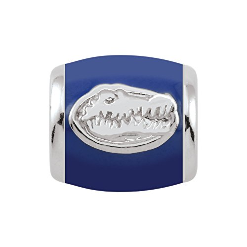 Persona Sterling Silver University of Florida Gator Head Blue Enamel Bead Charm